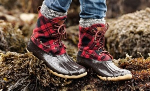 Brown and red plaid Sperry boots