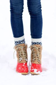 Red Sperry boots